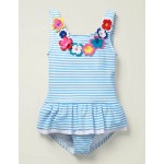 Novelty Applique Swimsuit - Cloudy Blue/ Ivory Flowers