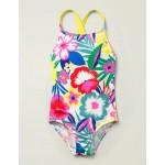 Cross-Back Swimsuit - Multi Tropical Bloom