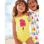 Colour-Change Sequin Swimsuit - Yellow/Ivory Ice Lolly