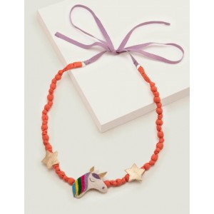 Fabric Necklace - Peach Melba/Ivory Unicorn