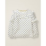 Frill Detail Woven Top - Ivory/College Navy Spot