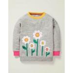 Cosy Applique Sweatshirt - Grey Marl Daisies