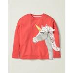 Frill Applique T-Shirt - Peach Melba Pink Unicorn
