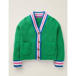 V-neck Cardigan - Rich Emerald Green