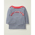 Best Day Ever Stripy Top - College Navy Best Day Ever