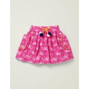 Pom Pocket Skirt - Pop Pansy Pink Tropical Toile