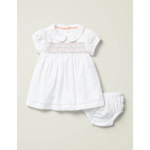 Smocked Occasion Dress - Ivory