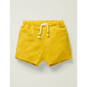 Textured Towelling Shorts - Daffodil Yellow Stars