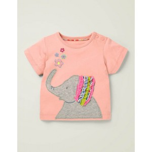 Applique Frill T-Shirt - Boto Pink Elephant