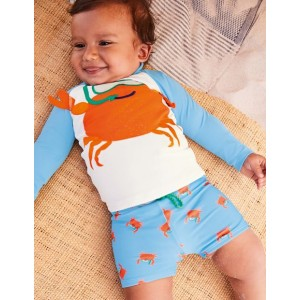 Novelty Crab Rash Guard Set - Cloudy Blue Crab