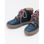 Leather Lace Up Boots - Robot Blue