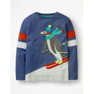Cool Animals Applique T-Shirt - Starboard Blue Skiing Penguin