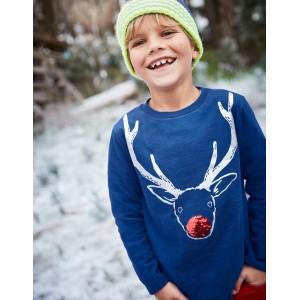 Festive Sequin T-Shirt - Orion Blue Reindeer