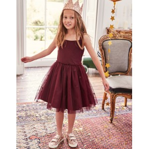 Star Tulle Party Dress - Deep Red