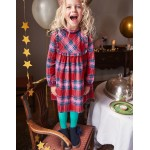 Festive Woven Check Dress - Engine Red/Pop Pink Check