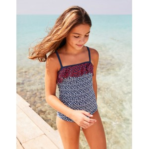Frill Detail Swimsuit - Deep Sea/Ivory Scatter Stars