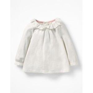 Pretty Collared T-Shirt - Ivory Broderie