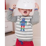 Fun Striped Sweater - Beacon Blue Snowman