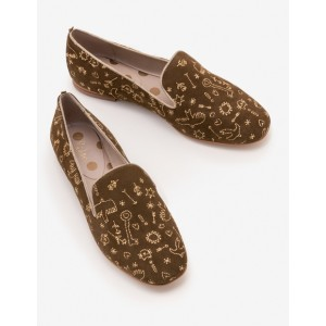 Elsie Embroidered Slippers - Military Green