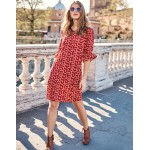 Hyacinth Dress - Post Box Red Scattered Stars