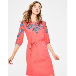 Leyla Embroidered Jersey Dress - Guava