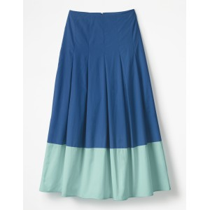 Lynne Colour Block Skirt - Riviera Blue with Ripple