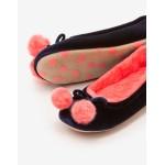 Velvet Pompom Slippers