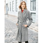 Lindfield Wrap Coat - Navy/Ivory Check