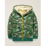 Shaggy-Lined Zip-Up Hoodie - Khaki Green Camo