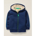 Shaggy-Lined Zip-Up Hoodie - College Blue