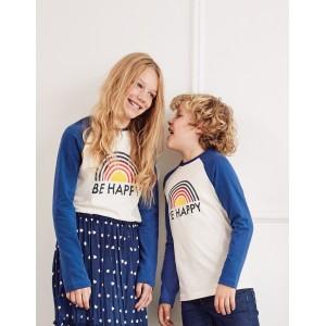 Slogan Raglan T-Shirt - Ivory Be Happy