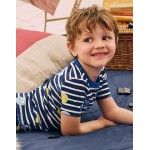 Cosy Short John Pajamas - Starboard Blue/Ecru Faces