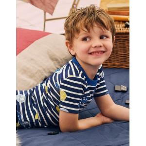 Cosy Short John Pajamas - Starboard Blue/Ecru Faces
