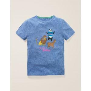 Fun Printed T-Shirt - Duke Blue Marl Animals