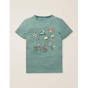 Fun Printed T-Shirt - Camp Green Marl Sports