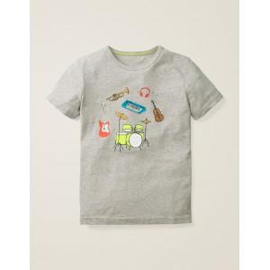 Fun Printed T-Shirt - Mid Grey Jaspe Music