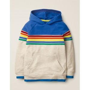 Rainbow Stripe Hoodie - Oatmeal Marl Rainbow