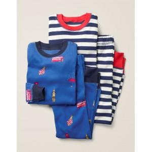 Twin Pack Long Pajamas - Duke Blue London