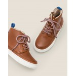 Leather Lace Up Boots - Tan