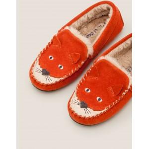 Cosy Suede Fox Slippers - Autumn Spice Orange