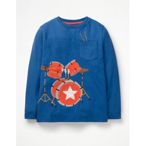 Music Applique T-Shirt - Duke Blue Drumkit