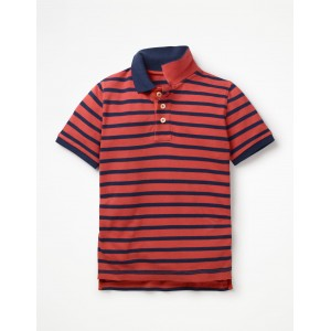 Pique Polo Shirt - Washed Red/College Blue