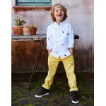 Embroidered Shirt - White Oxford Tiny Dinos