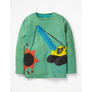 Vehicle Applique T-Shirt - Patina Green Wrecking Ball