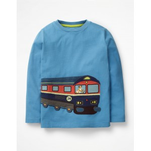 Vehicle Applique T-Shirt - Lake Blue Train