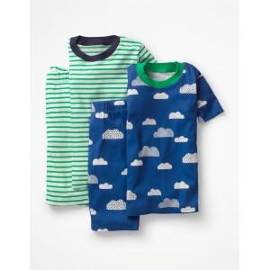 Twin Pack Short John Pajama - Duke Blue Cloud/Astro Green