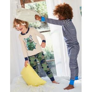Twin Pack Long John Pajamas - Khaki Green Camo Bug