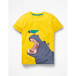 Big Animal Applique T-Shirt - Sunshine Yellow Hippo