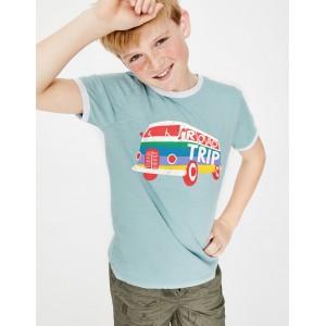 Graphic Slogan T-Shirt - Mineral Blue Campervan