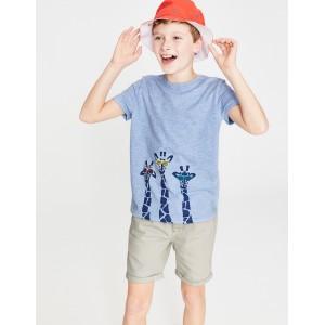 Animal Graphic T-Shirt - Provence Blue Giraffes